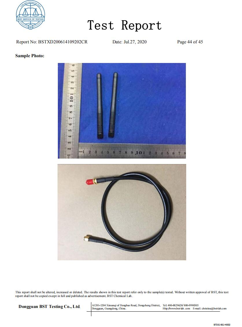 whireless antenna and RF cable d RoHS 2015/863/EU certification